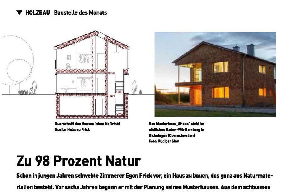 8HAUS Musterhaus in der Fachzeitschrift dach+holzbau